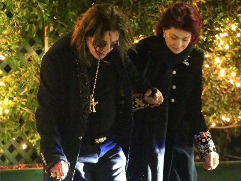 Sharon Osbourne supports husband Ozzy as he walks with a cane following recent health issues