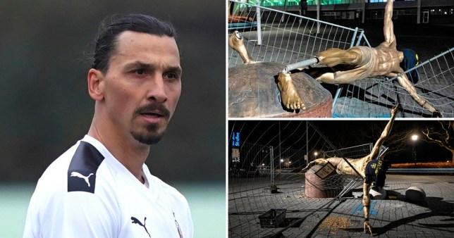 ผลการค้นหารูปภาพสำหรับ Vandals topple Zlatan Ibrahimovic statue in Sweden