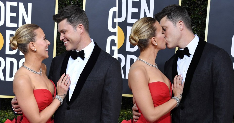Scarlett Johansson and Colin Jost kiss at the Golden Globes