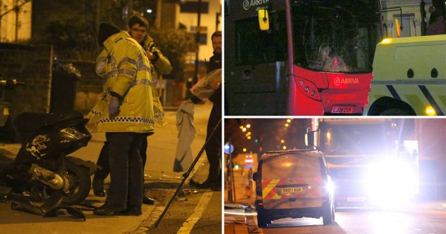 Two teenagers are in hospital following a collision between a bus and a moped in Croydon