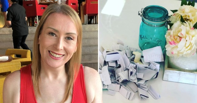 photograph of stacey and her happiness jar