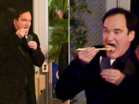 Quentin Tarantino shows off his chopsticks skills while chowing down on noodles after Golden Globes win