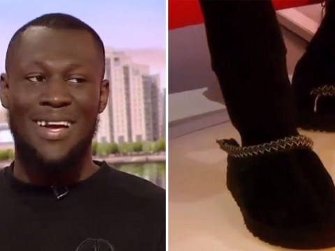 Stormzy rocks slippers on BBC Breakfast after forgetting shoes and it's a look