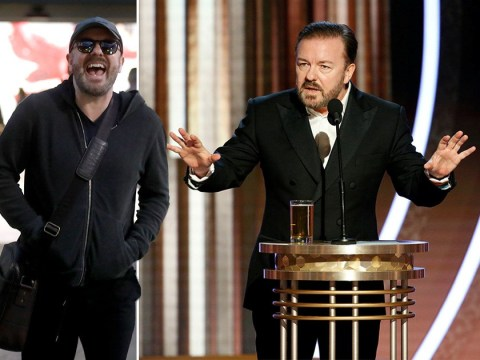 Ricky Gervais arrives back to the UK in fits of laughter after shocking viewers with paedophile jokes at Golden Globes