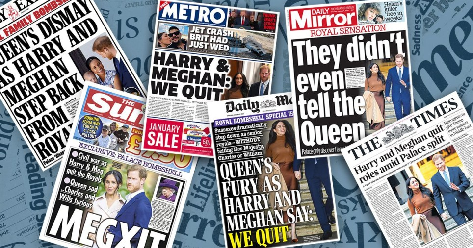 Newspaper front pages after Harry and Meghan quit Royal family