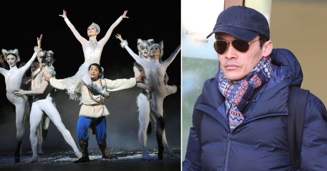 Yat-Sen Chang, 48, performing in The Snow Queen by the English National Ballet at the Coliseum, London, Britain , 8 January 2010, and picture of him at Westminster Magistrates Court in January 2020 after being charged with 14 counts of sexual assault
