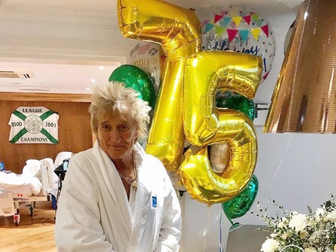 Rod Stewart back on his feet as he celebrates 75th birthday following simple battery charge