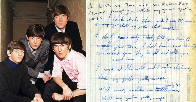 The Beatles; George Harrison and Ringo Starr's handwritten lyrics