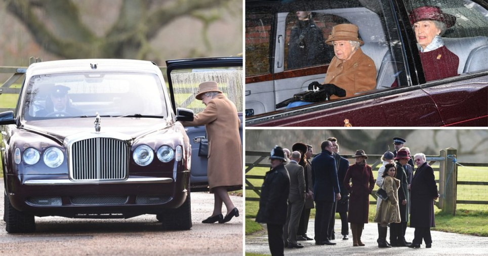 The Queen arrives at church