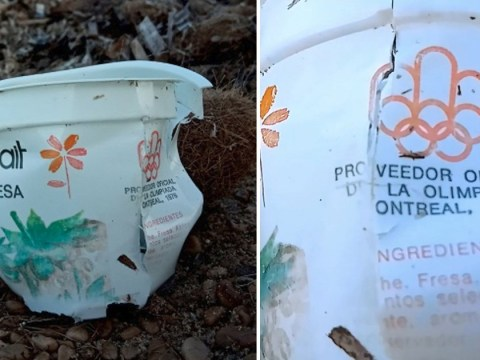 Yoghurt pot launched during 1976 Olympics washes up on beach
