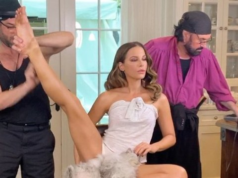 Kate Beckinsale busts incredible leg moves with glam squad as she gets ready for Critics' Choice Awards