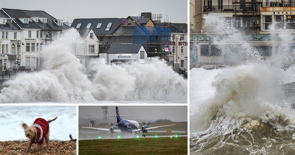 Huge waves hit the sea wall in Porthcawl, Wales, as gales of up to 80mph from Storm Brendan caused disruption around the UK (Picture: PA)