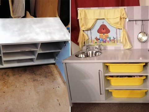 Mum turns old TV cabinet into play kitchen for her daughter for £30