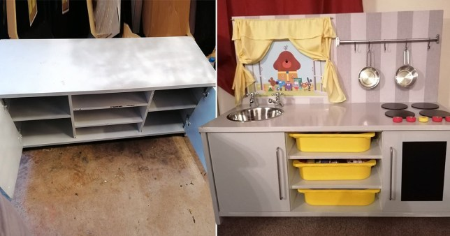 Mum turns old TV cabinet into play kitchen for her daughter for £30 - before and after