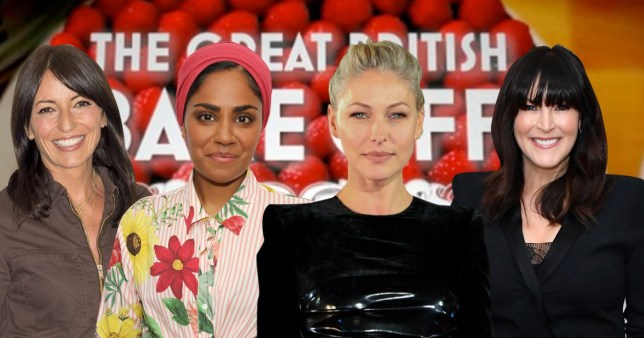 Comp of Davina McCall, Nadiya Hussain, Emma Willis and Anna Richardson on The Great British Bake Off
