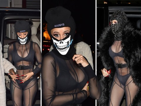Only Cardi B could rock a sheer bodysuit over bra and pants in freezing Paris