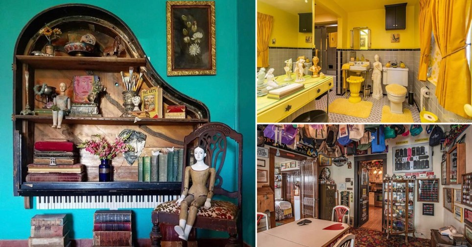 Compilation of three photos showing various interiors including a yellow bathroom, a room with bags hanging from the ceiling and a shelf made from a piano