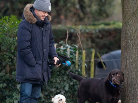 Ant McPartlin is a doting dog dad as he walks pup Hurley amid Lisa Armstrong divorce settlement claims