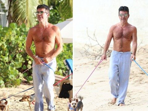 Simon Cowell keeps up his exercise with topless beach stroll, is he ever coming back?