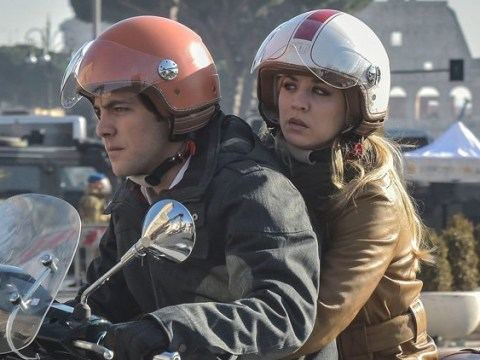 Kaley Cuoco whizzes around Rome on Vespa as she films action scenes for HBO series The Flight Attendant