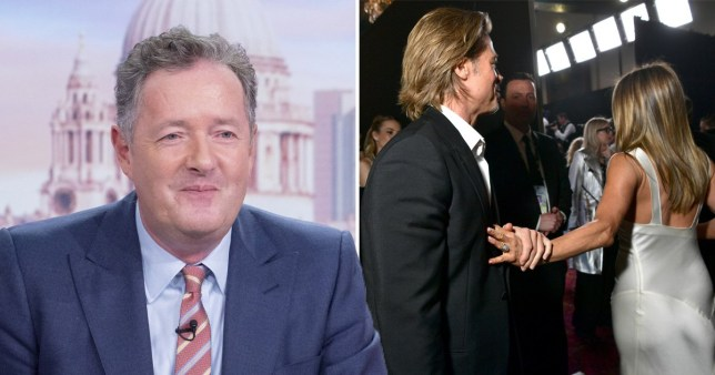 Even Piers Morgan is into this Brad Pitt and Jennifer Aniston reunion as they hold hands at SAG Awards