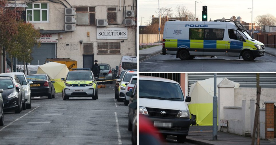 Met Police investigators at Seven Kings, Ilford on January 20, 2020 where three men were stabbed to death on Sunday evening