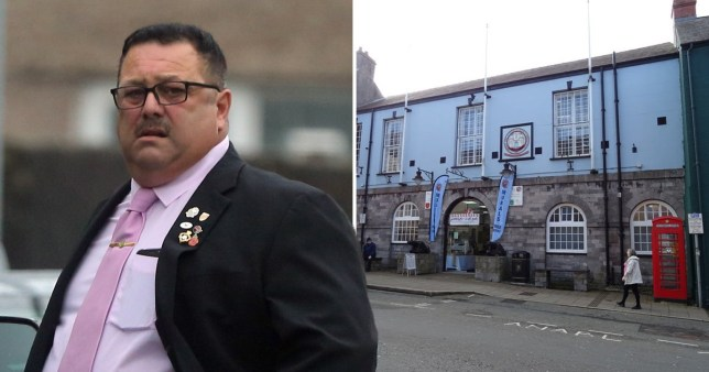 Convicted paedophile and disgraced former Pembroke Mayor David Bosswell and Pembroke Town Hall, which is continuing to display a portrait of him inside