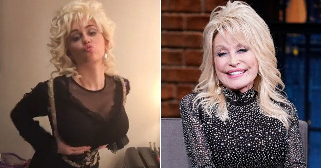 Miley Cyrus transforms into godmum Dolly Parton for her birthday and the finished look is uncanny