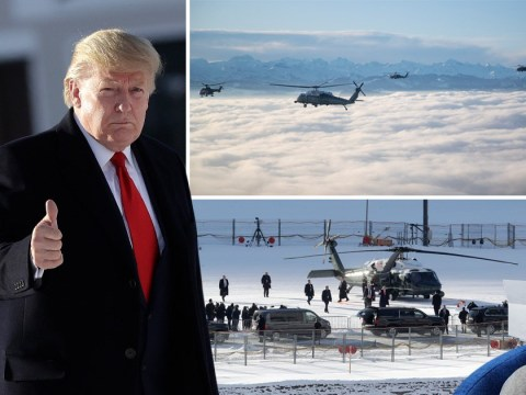 Donald Trump arrives at Davos in seven helicopters ahead of showdown with Greta Thunberg