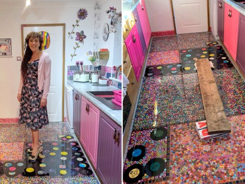 Mum turns 'cheating' ex-husband's record collection into her new floor
