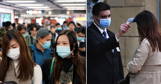 Pictures of people in China wearing face masks and woman being screened for disease