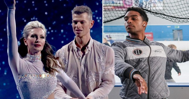 Caprice and Hamish from Dancing on Ice next to oscar peter