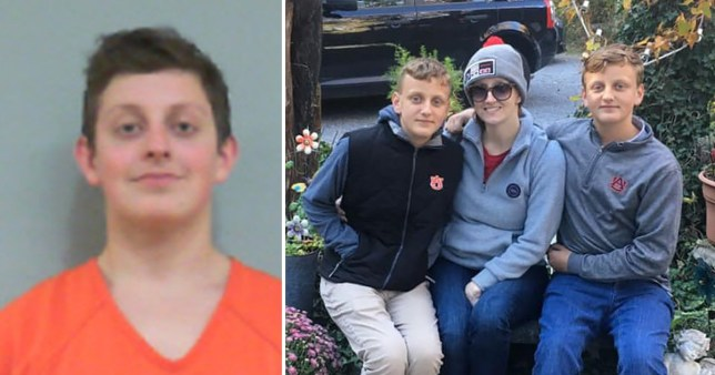 Landon Durham, 16, in police custody (left) and mother Holli Christina Durham, 36, and twin brothers Branson and Baron Durham, both 13, who he is accused of murdering in their Alabama family