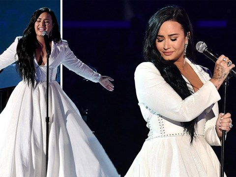 Crying Demi Lovato restarts Grammys performance as she makes comeback after overdose