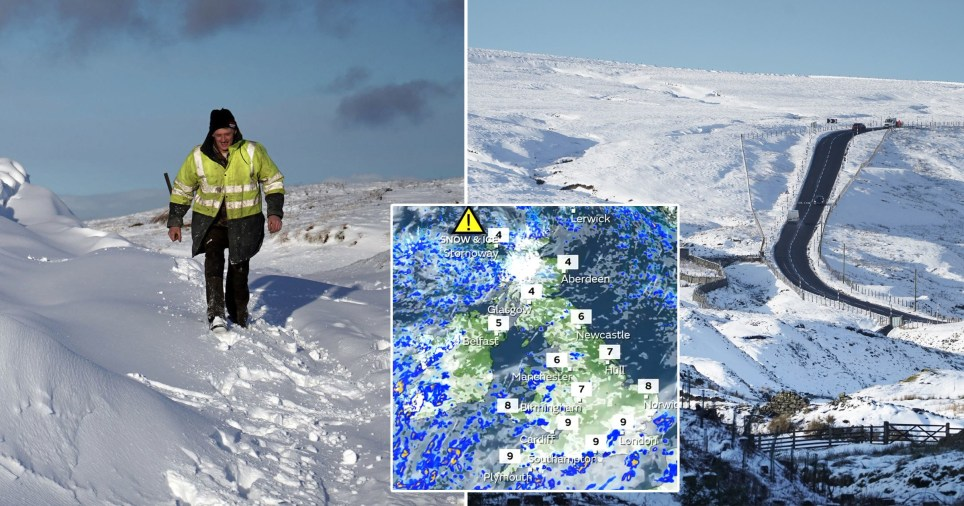 It will get to as cold as -10C in the Scottish highlands while the south of England will plunge to -2C