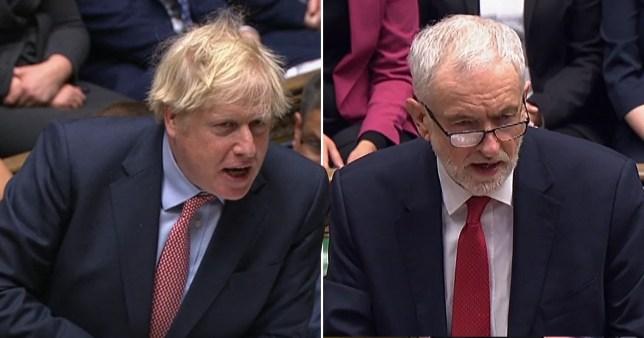 Boris Johnson and Jeremy Corbyn at PMQs