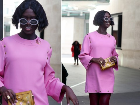 Jodie Turner-Smith dresses her bump in bright pink mini-dress as she nails pregnancy style
