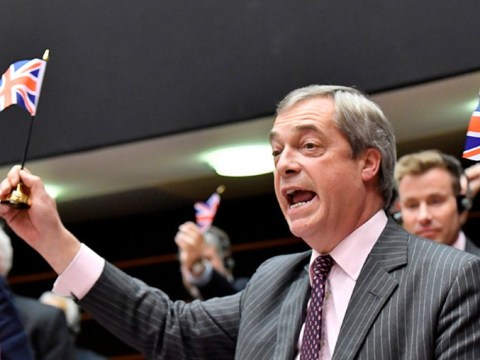 EU tells Nigel Farage to 'leave and take his flags with him' during final speech