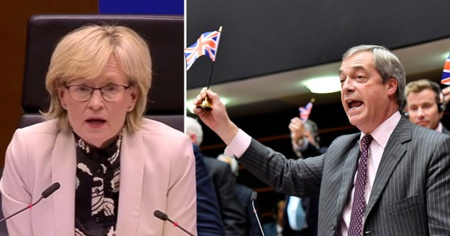 European Parliament vice-president Mairead McGuiness (left) and Brexit Party leader Nigel Farage waving a Union Jack during his farewell speech before Britain's departure from the EU on January 31 11pm