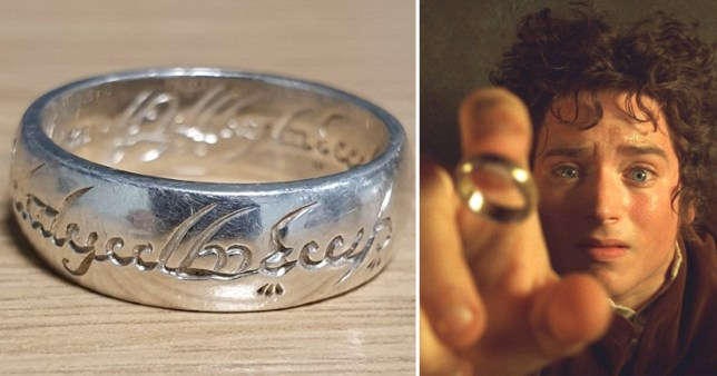 Replica Lord of the Rings ring found by North Yorkshire Police (left) and Elijah Wood as Frodo Baggins in Peter Jackson's film adaptation