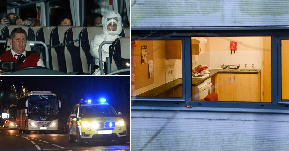 Evacuees arrive in Wirral for two weeks of quarantine (Picture: PA - Getty - Reuters)