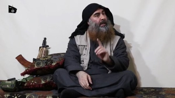 "- AFP PICTURES OF THE YEAR 2019 - In this undated tv grab taken from a video released by Al-Furqan media, the chief of the Islamic State group Abu Bakr al-Baghdadi purportedly appears for the first time in five years in a propaganda video in an undisclosed location. - The elusive chief of the IS group al-Baghdadi has appeared for the first time in five years in a propaganda video released on April 29 by the jihadist organisation. It is unclear when the footage was filmed, but Baghdadi referred in the past tense to the months-long fight for Baghouz, IS's final bastion in eastern Syria, which ended last month. (Photo by - / various sources / AFP) / THIS PICTURE WAS MADE AVAILABLE BY A THIRD PARTY. AFP CAN NOT INDEPENDENTLY VERIFY THE AUTHENTICITY, LOCATION, DATE AND CONTENT OF THIS IMAGE. THIS PHOTO IS DISTRIBUTED EXACTLY AS RECEIVED BY AFP. RESTRICTED TO EDITORIAL USE - MANDATORY CREDIT ""AFP PHOTO / SOURCE / AL-FURQAN"" - NO MARKETING - NO ADVERTISING CAMPAIGNS - DISTRIBUTED AS A SERVICE TO CLIENTS / AFP PICTURES OF THE YEAR 2019 (Photo by -/AFP via Getty Images)"