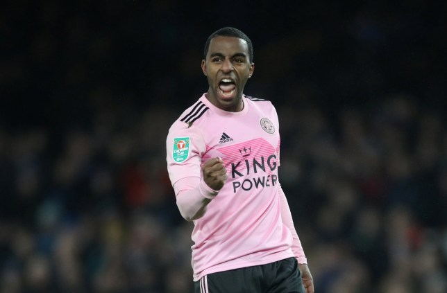 Ricardo Pereira punches the air after Leicester City win a football match