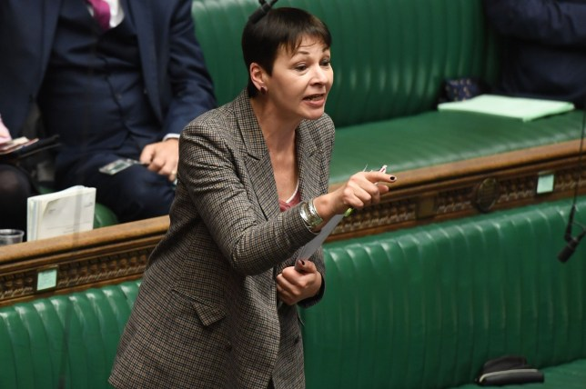 """A handout photograph released by the UK Parliament shows Green party MP Caroline Lucas speaking during the Second Reading of the European Union (Withdrawal Agreement) """"Brexit"""" Bill in the House of Commons in London on December 20, 2019. - Britain's freshly-elected parliament prepared on Friday to move past years of partisan wrangling and initially approve Prime Minister Boris Johnson's divorce deal with the EU. The all-but-certain outcome in the lower House of Commons will help Johnson on his way towards meeting his winning campaign promise to """"get Brexit done"""" on January 31. (Photo by JESSICA TAYLOR / UK PARLIAMENT / AFP) / RESTRICTED TO EDITORIAL USE - NO USE FOR ENTERTAINMENT, SATIRICAL, ADVERTISING PURPOSES - MANDATORY CREDIT """" AFP PHOTO / Jessica Taylor /UK Parliament"""" (Photo by JESSICA TAYLOR/UK PARLIAMENT/AFP via Getty Images)"""