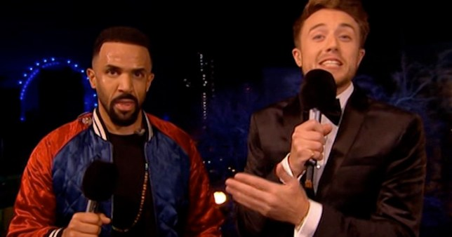 Roman Kemp chats to Craig David during the NYE countdown