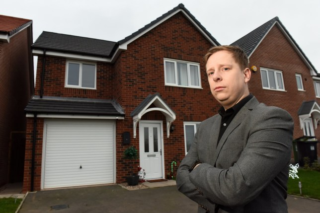 Pictures by Caters News - (PICTURED: Daniel Patrick outside his home in Redditch, Worcestershire.) A furious couple claim theyre living in a home from hell - after alleging that their dream new build home regularly floods with RAW SEWAGE. Daniel Patrick, 32 and his partner Katy, 37, bought their dream