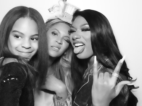 Beyonce straightens Blue Ivy's hair as they party with Megan Thee Stallion