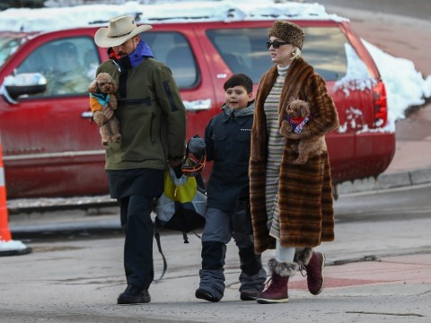 Katy Perry and Orlando Bloom spotted in Aspen with actor's son Flynn as they carry dogs Nugget and Mighty