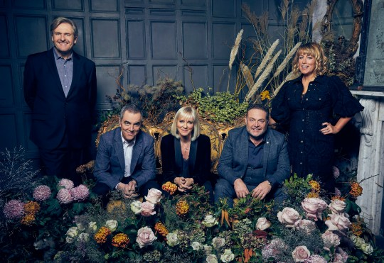 This image is strictly embargoed until 00.01 Friday 3rd January 2020 From Big Talk Productions Cold Feet: SR9 on ITV Pictured: David [Robert Bathurst], Adam [James Nesbitt], Karen [Hermione Norris], Pete [John Thomson] and Jenny [Fay Ripley]. This photograph is (C) Big Talk/ ITV and can only be reproduced for editorial purposes directly in connection with the programme or event mentioned above, or ITV plc. Once made available by ITV plc Picture Desk, this photograph can be reproduced once only up until the transmission [TX] date and no reproduction fee will be charged. Any subsequent usage may incur a fee. This photograph must not be manipulated [excluding basic cropping] in a manner which alters the visual appearance of the person photographed deemed detrimental or inappropriate by ITV plc Picture Desk. This photograph must not be syndicated to any other company, publication or website, or permanently archived, without the express written permission of ITV Picture Desk. Full Terms and conditions are available on the website www.itv.com/presscentre/itvpictures/terms For further information please contact: james.hilder@itv.com / 0207 157 3052
