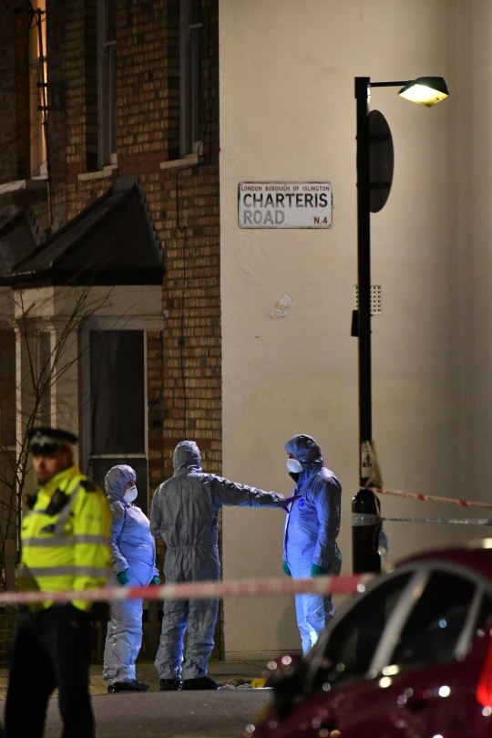 Forensic officers at the crime scene after Metropolitan police cordon off Charteris Road close to the junction with Lennox Road in Finsbury Park after a man was stabbed to death in north London on Friday evening. PRESS ASSOCIATION Photo. Picture date: Friday January 3, 2020. The Metropolitan Police have launched their first murder investigation of the year. See PA story POLICE FinsburyPark. Photo credit should read: Dominic Lipinski/PA Wire